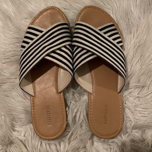 Forever21 striped sandal slides